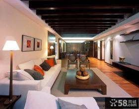 简中式120平米房屋客厅木龙骨吊顶效果图