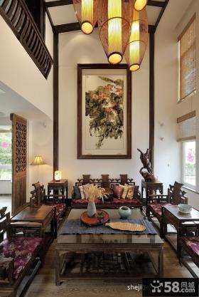 中式风格别墅挑高客厅装修效果图欣赏