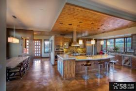 别墅厨房桑拿板吊顶效果图