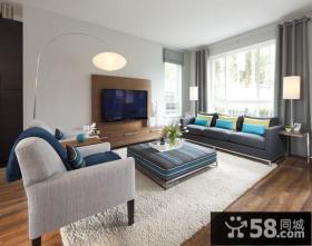 15万打造清新简欧风格三居客厅电视背景墙装修效果图大全2012图片