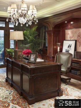美式风格风格书房实木电脑桌装修效果图