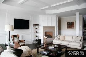 纯白的简约元素北欧风格装修客厅图片