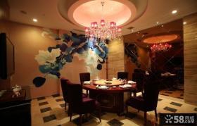 现代中式餐厅室内装饰壁画图片