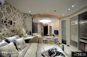 欧式风格卧室床头壁纸背景墙装修效果图欣赏