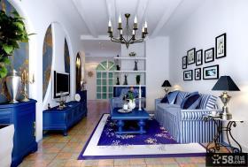 2013地中海风格客厅电视背景墙装饰效果图欣赏