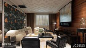 整体客厅木质电视背景墙效果图