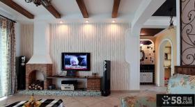 美式田园风格二居木质电视背景墙装修效果图