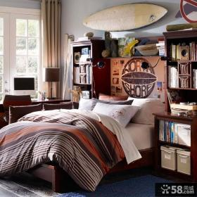 美式风格儿童房书柜床装修效果图