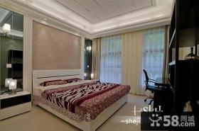 现代复式楼卧室窗帘装修效果图