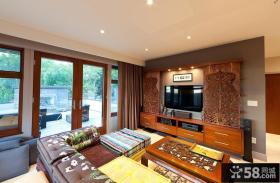 中式客厅雕花电视背景墙装修效果图大全2013图片
