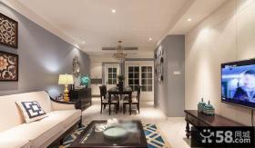 现代简约风格家庭客厅餐厅吊顶设计