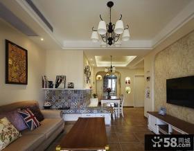 美式风格60平米小户型客厅装潢效果图