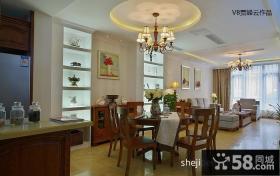 美式家居客厅餐厅一体吊顶效果图