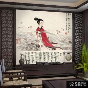 中式古典沙发背景墙壁画