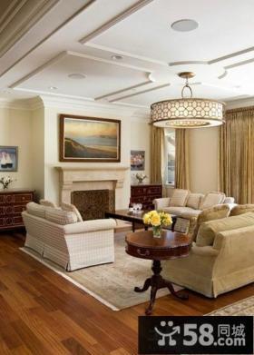 欧式客厅石膏板吊顶装修图片