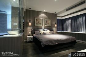 现代风格卧室拐角飘窗窗帘图片