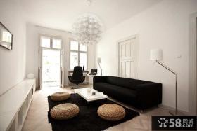 白色简欧小户型客厅装修效果图大全2014图片