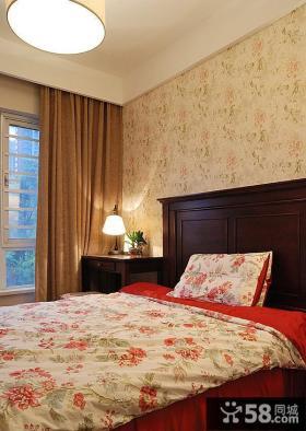 美式田园壁纸卧室效果图欣赏