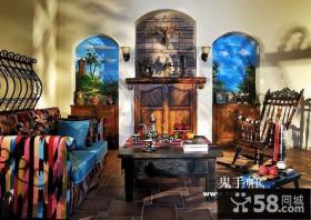 复古的田园风格复式楼客厅装修效果图大全2014图片