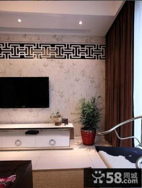 新中式风格电视背景墙壁纸图片