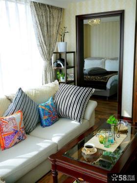 现代中式公寓户型沙发客厅装修效果图
