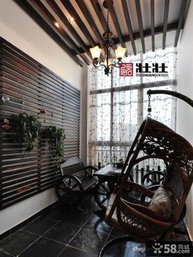 休闲阳台藤椅图片