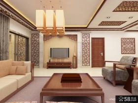 中式客厅电视机背景墙