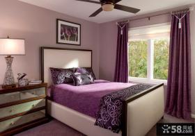 卧室紫色双人床图片大全2013