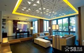 新中式风格客厅集成吊顶效果图