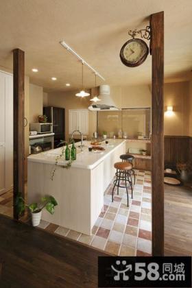 美式乡村厨房吧台装修效果图