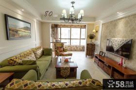 美式田园风格两室两厅客厅电视背景墙效果图