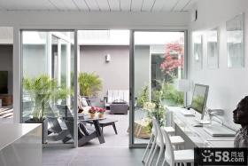 极简主义风格书房阳台隔断门设计效果图