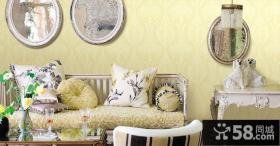 欧式风格客厅玉兰壁纸图片