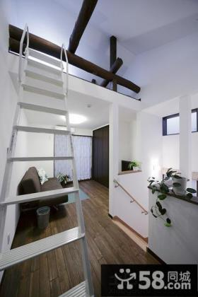 日式复式客厅不锈钢楼梯装修效果图