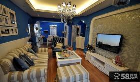 地中海风格客厅电视背景墙装饰效果图欣赏