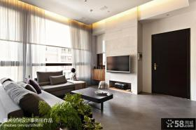 现代简约风格客厅白色瓷砖电视背景墙效果图