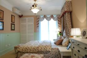 欧式田园风格主卧室窗幔窗幔效果图