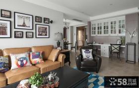 美式风格家具客厅沙发背景墙装饰画贴图