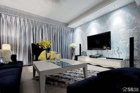 现代风格客厅浮雕电视机背景墙效果图