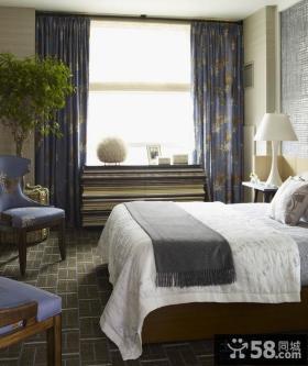 美式田园风格卧室窗帘装修效果图