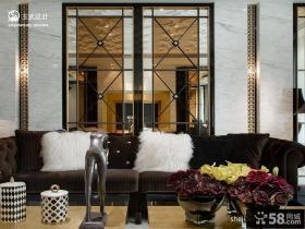 欧式客厅沙发玻璃背景墙效果图