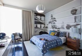 主卧室床头背景墙效果图片
