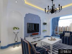 地中海蓝色电视背景墙效果图