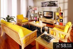 简约风格小客厅电视机背景墙装修效果图