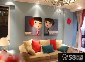 80后萝莉倾心设计小户型可爱的客厅装修效果图
