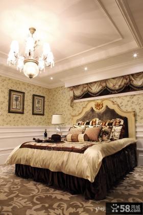 美式奢华联排别墅卧室吊顶样板间