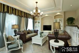法式乡村风格复式楼客厅装修效果图