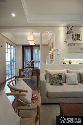 简中式风格客厅与餐厅吊顶装修设计