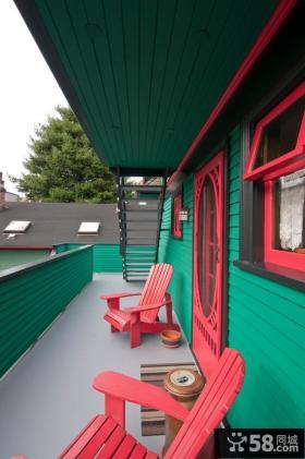 创意红绿搭配阳台装修
