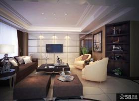 欧式现代客厅软包电视背景墙装修效果图
